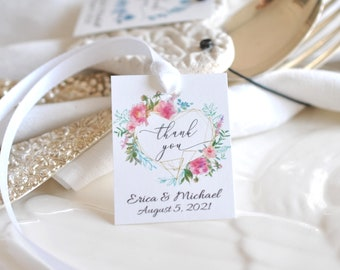 """Printable Wedding or Shower Thank You Favor Tag Template Pink Flowers 2x1.5"""" Instant Download Editable Digital Template, Corjl A103"""