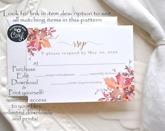 Fall Wedding RSVP Card Autumn Leaves Printable Instant Access Digital Template, Corjl A130