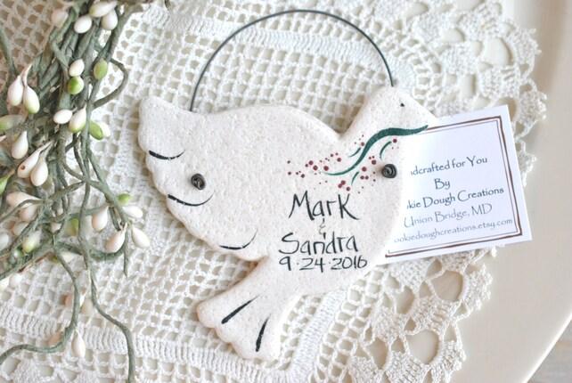 Personalized Dove Wedding Favors Salt Dough Ornaments Wedding
