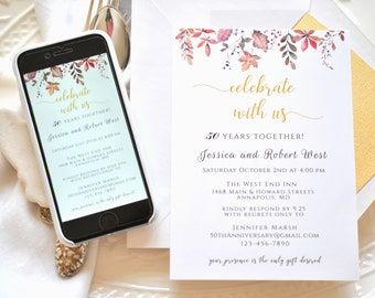 50th Wedding Anniversary Invitation Fall Template 5x7 and Evite Included Editable DIY Editable Printable Digital Template, Corjl A130
