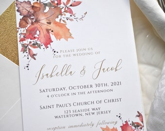 Printable Fall Leaves Wedding Invitation Evite Included Digital Invitations Instant Access Berries and Leaves Template, Corjl A130
