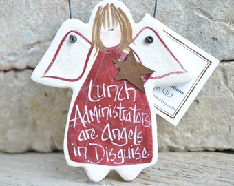 Lunch Administrator Gift Salt Dough Thank You Ornament