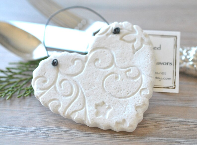 2aee603bc Wedding Heart Favors Imprinted Personalized Salt Dough Hearts