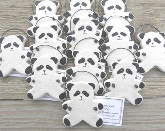 Panda Bear Baby Shower Set of 10 Salt Dough Ornaments / Party Favor Ornaments