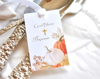 Made for You Fall Baptism Favor Tags with Pumpkins Personalized Tags A129