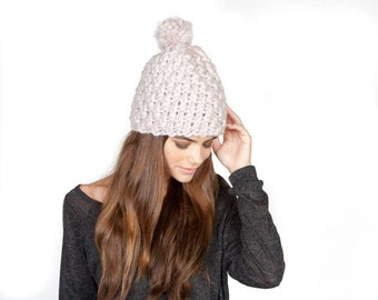 Snow Day Hat  Extra chunky pure wool hand-knit pom hat in blush 4c7fa8f73456