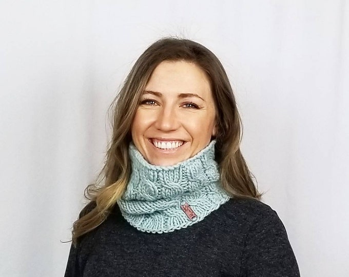 Featured listing image: Pure American wool hand-knit modern cabled cowl, gaiters, neckwarmer and snood. Customize with your color choice.