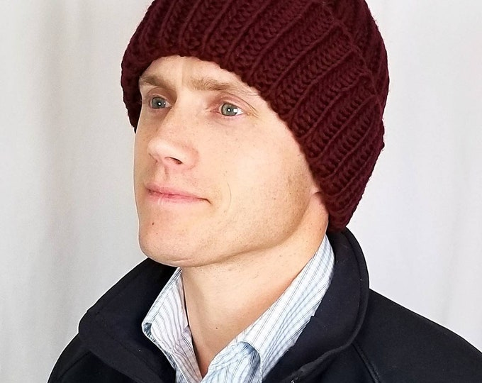 Featured listing image: Pure American wool hand-knit modern beanie, stocking cap, toque, slouchy, cable hat. Customize with a pom, if desired.