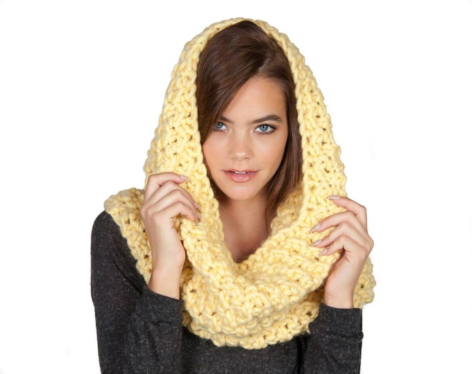 Featured listing image: Sunny yellow pure wool hand knit snood, infinity scarf, and cowl. XL chunky and cozy.