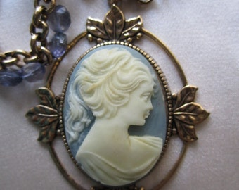 Blue Lady Cameo Necklace