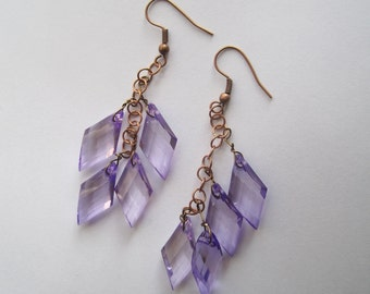 Long Dangling Lilac Lucite Beads on Copper Chain Earrings, Sparkling Dangles, Spring Colored Dangles, Made in Sweden