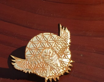 Wood Gold Leaf Sacred G Owl