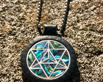 Eternal life abalone and pearl pendant