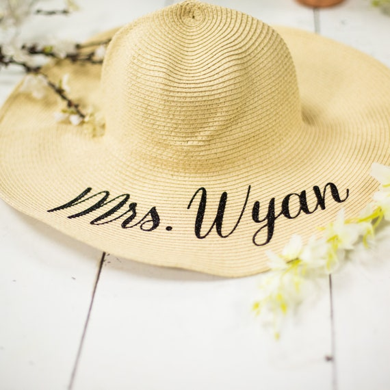 Personalized Mrs floppy hats. Bride to be monogrammed beach  e1313600eaf