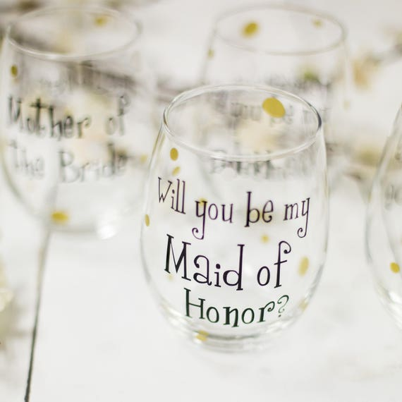 839df49a56f Will you be my Bridesmaid wine glass Personalized Bridesmaid | Etsy