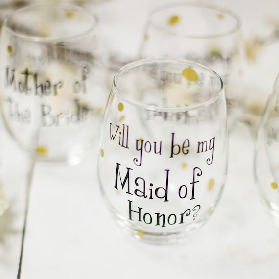 56232ef6887 Will you be my Bridesmaid wine glass, Personalized Bridesmaid stemless  glasses. Will you be my Bridesmaid? Asking Bridesmaid Will you be my