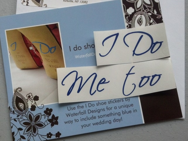 I Do, Me too shoe sticker, Navy blue decals for Bride and Groom wedding shoes.  Set of 2, something  blue for wedding