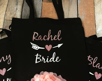 Bridesmaid Totes Bridal Party Tote Bags, Bridesmaid Totes , Bridesmaid Gifts, Bridal Party Gift, Black Personalized Totes, Monogrammed Totes