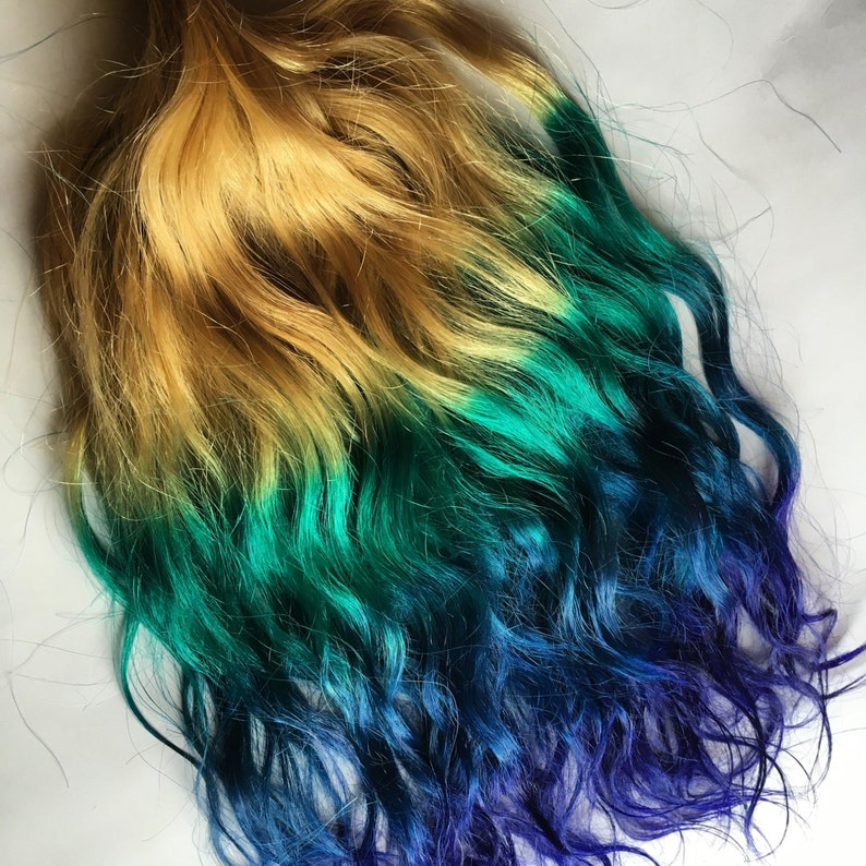 Rainbow 4 Color Ombre Hair Extensions Blonde Teal Green Blue Etsy