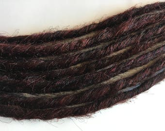 10 SE Single Ended Synthetic Dreads Dark Auburn Red Brown Dreadlock Braid Hair Extensions
