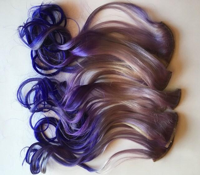 Ombre Hair Extensions Silver Lavender Purple Violet Fade Dip Etsy