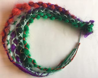 READY to SHIP Green Red Purple Blue 5 Wrap Braids Single Ended Synthetic Dreadlocks Dread Fall Hair Extensions
