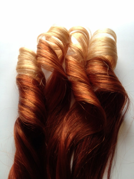 Red Ombre Hair To Copper 100 Human Hair Extensions Keratin Etsy
