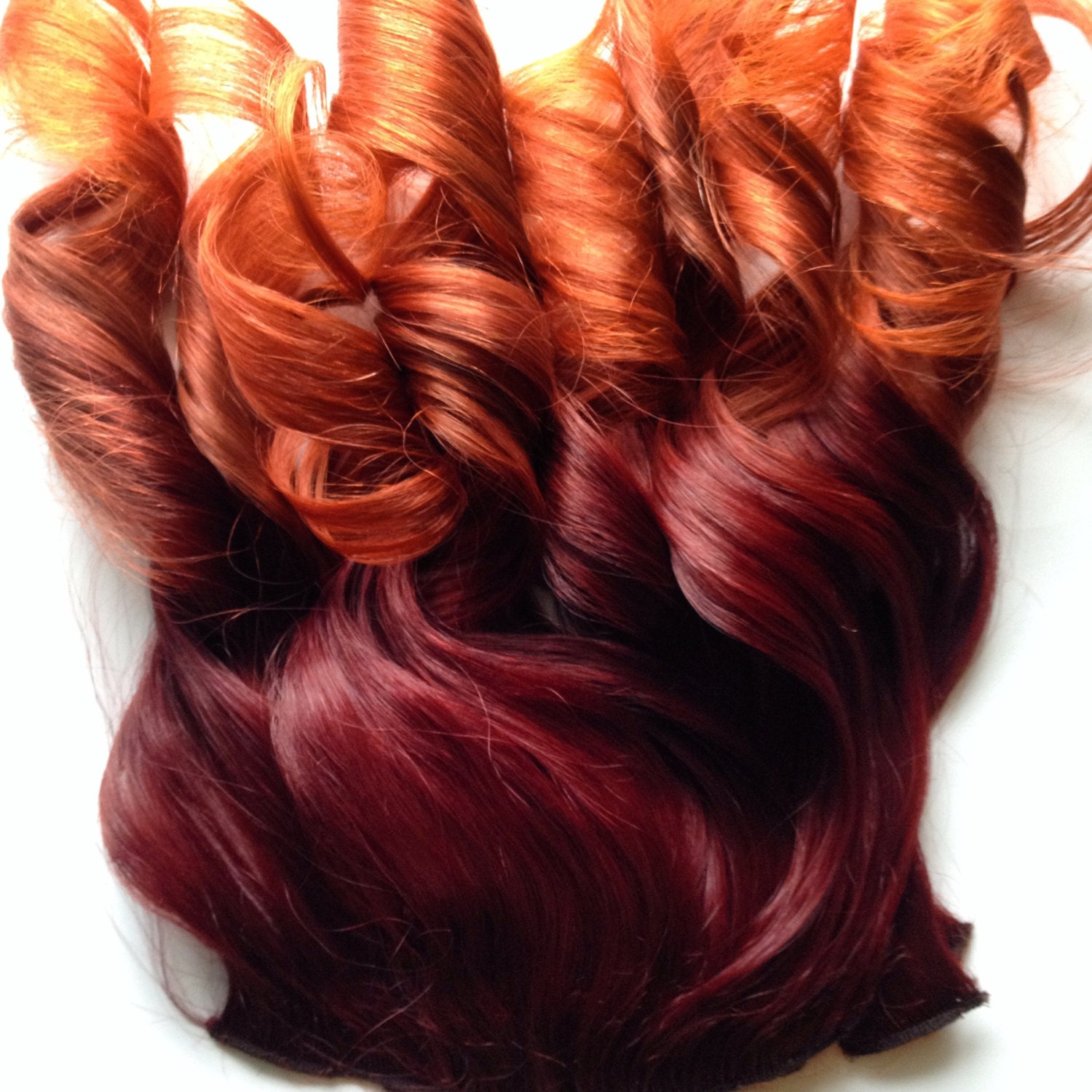 Ombre Hair Bright Red Auburn Burgundy To Gold Orange Clip Fade Etsy