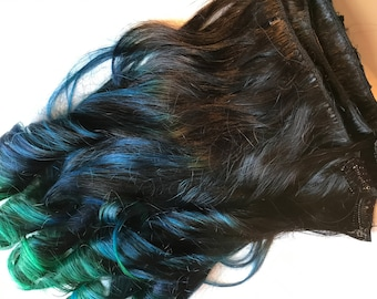 Rainbow 3 Color Ombre Hair Extensions Black Blue Teal Green Blue Purple Clip in 100% Human Hair Remy Full Set Double Wefted Dip Dye Fade