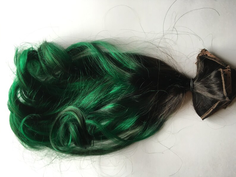 18 Inch Ombre Hair Extensions Black To Emerald Green Oil Slick Etsy