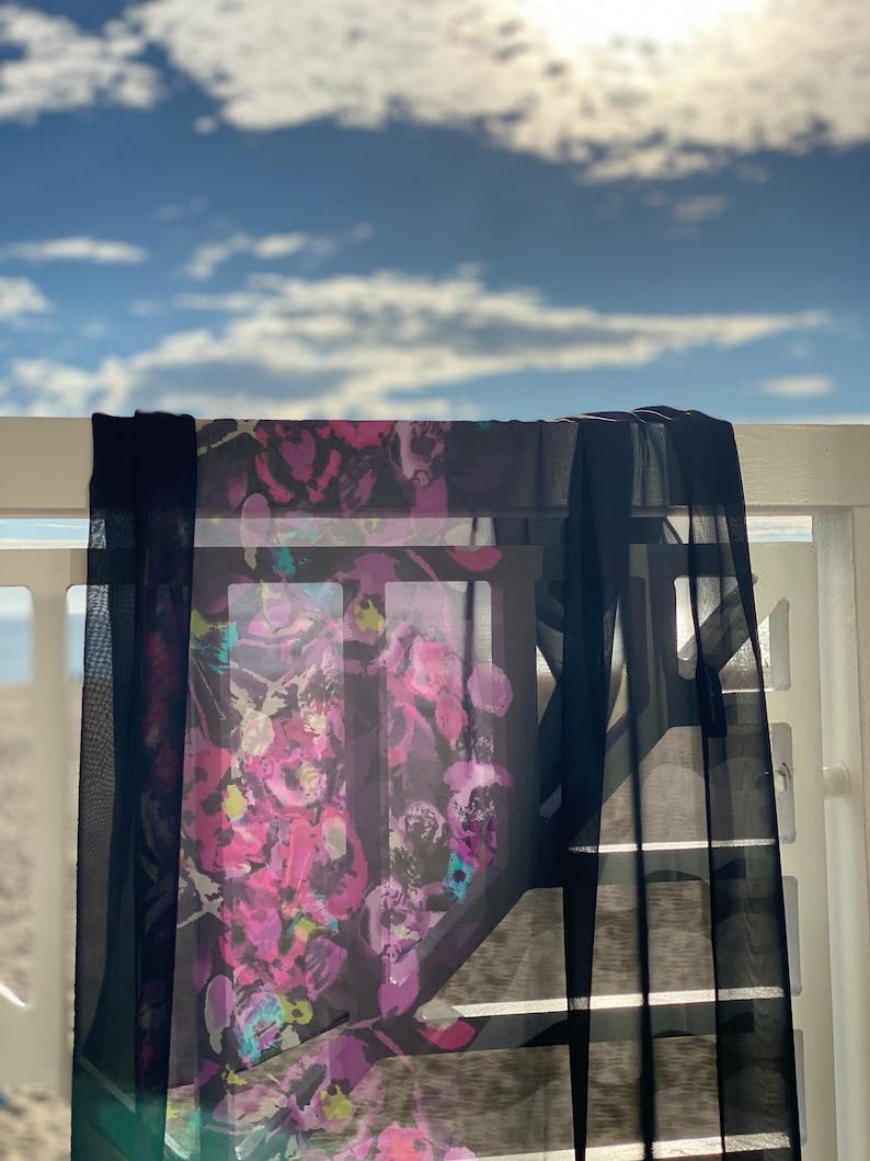 Enzaly Black and pink floral sheer sarong image 0