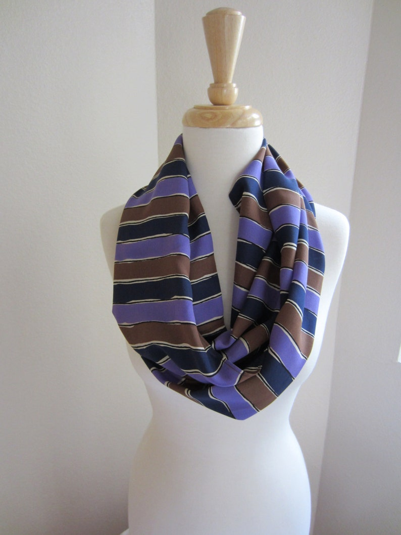 Enzaly Pulple and Black striped 100% Silk Scarf image 0