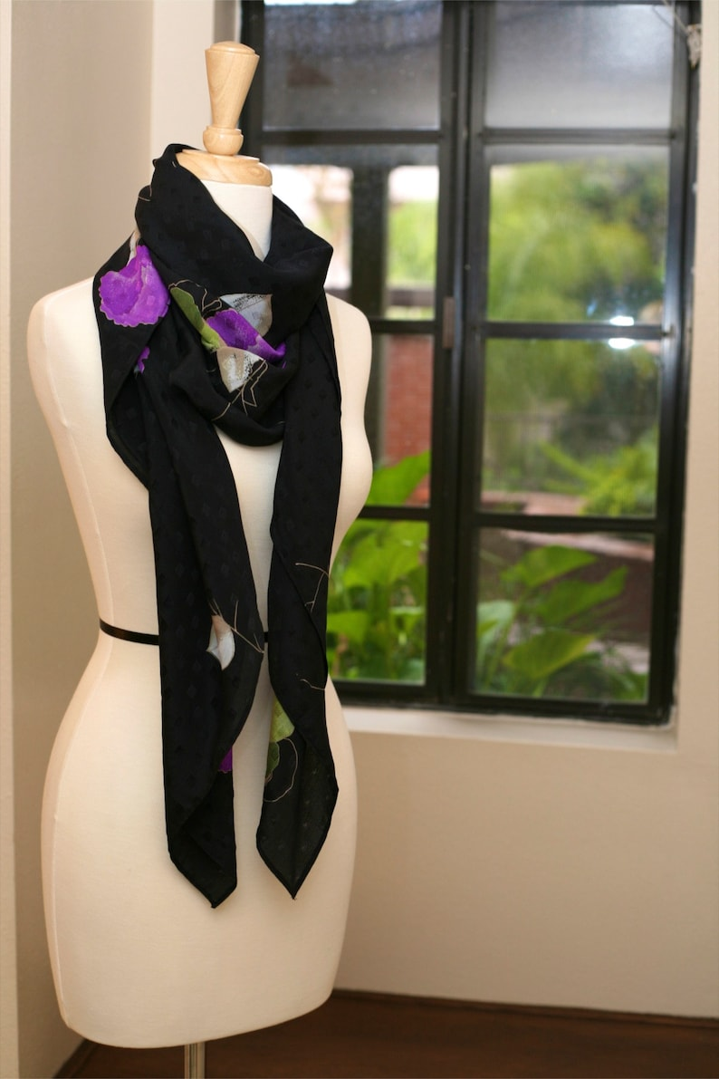 Black Large Silk Hand Painted Floral Scarf image 0