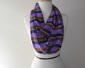 Enzaly Pulple and Black striped 100% Silk Scarf
