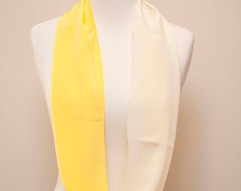Enzaly Yellow and White Infinity 100% Silk Scarf