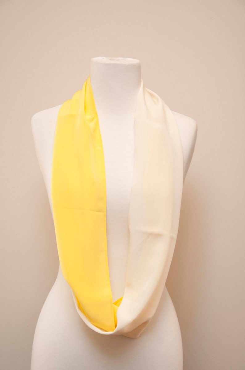 Enzaly Yellow and White Infinity 100% Silk Scarf image 0