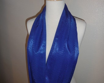 Enzaly Royal Blue Chevron Print Infinity 100% Silk Scarf