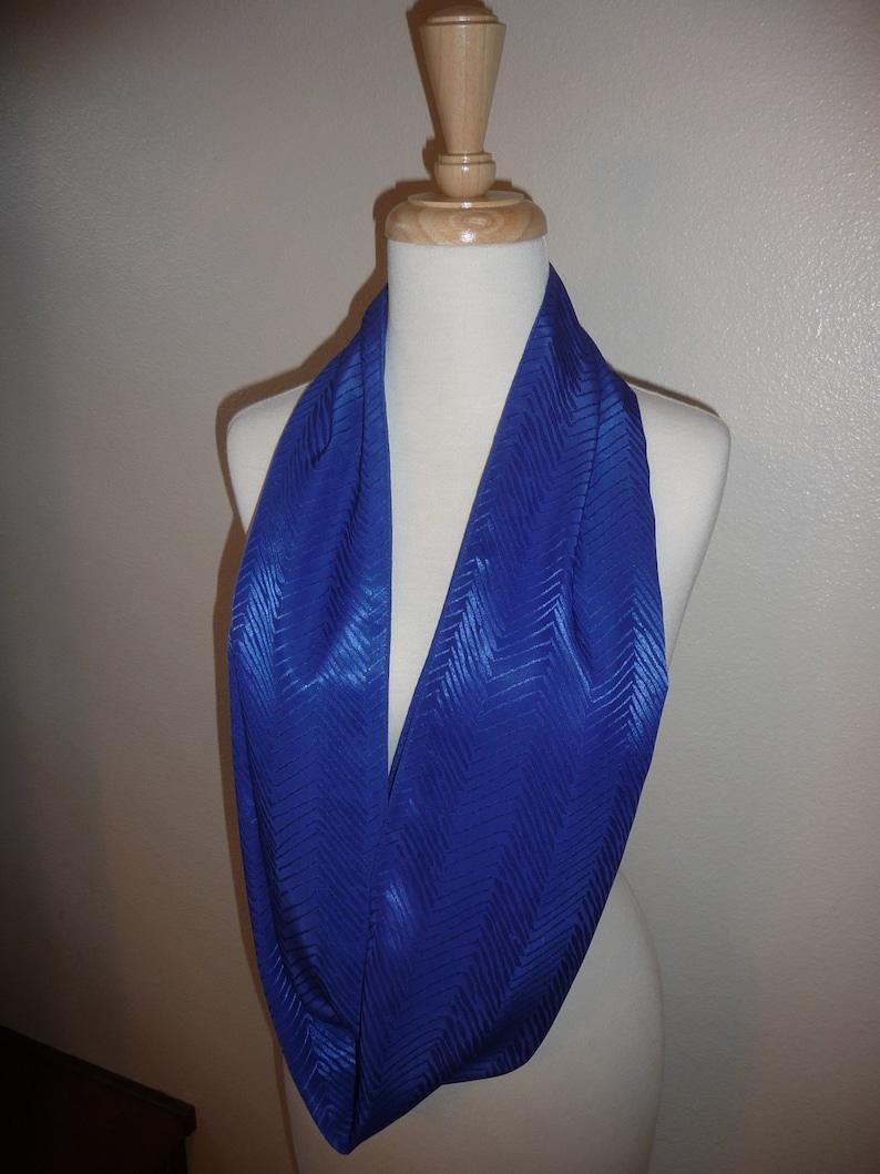 Enzaly Royal Blue Chevron Print Infinity 100% Silk Scarf image 0
