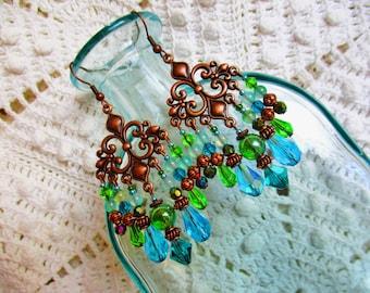 Bohemian chandelier earrings, Copper green teal chandelier earrings