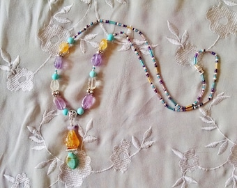 Gemstone beaded necklace, Bohemian gypsy colorful silver gemstone amethyst, turquoise, citrine, beaded necklace