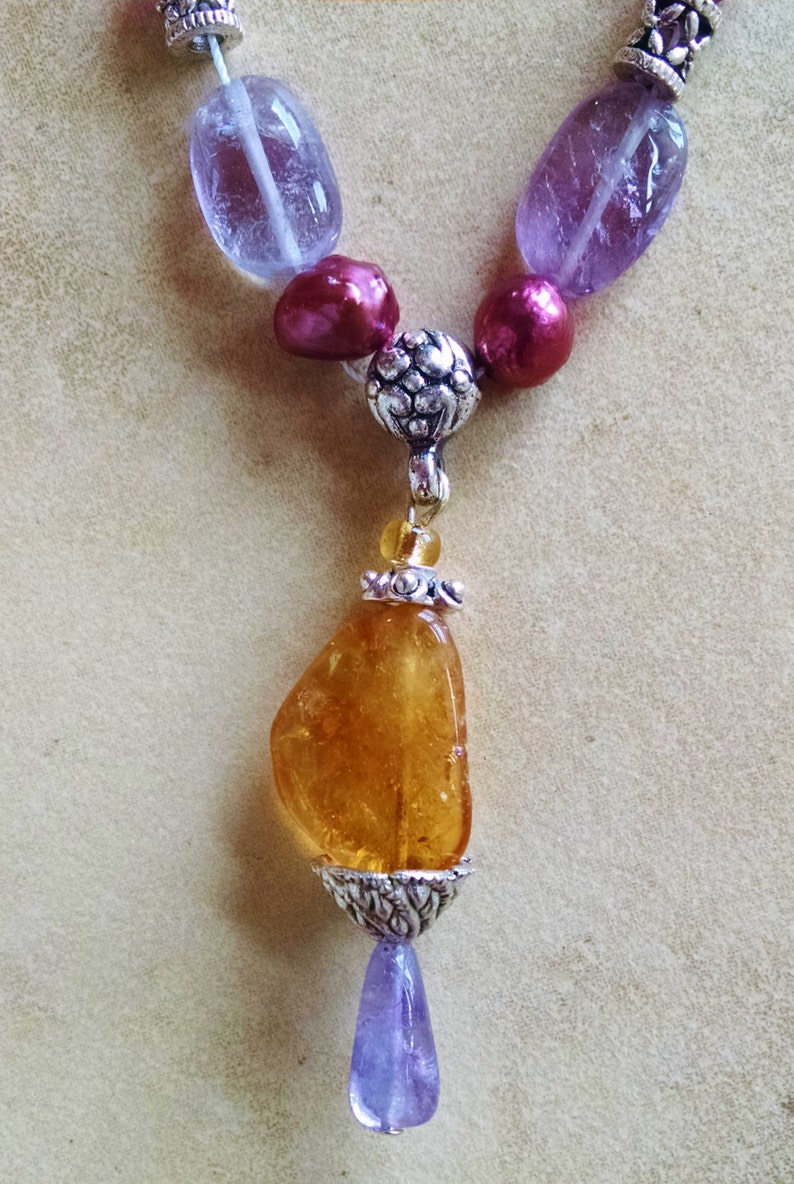 crystal Citrine Cirine amethyst fuchsia necklace earring set amethyst pearl pendant necklace chandelier earring set