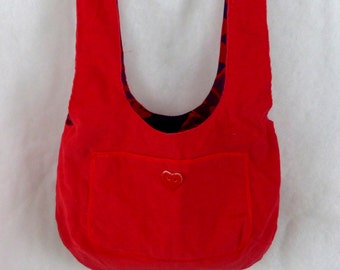 Reversible Tote in red corduroy reversing to colorful print