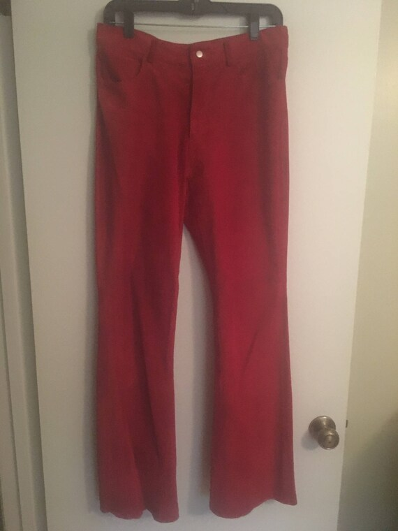 Lipstick red suede pants