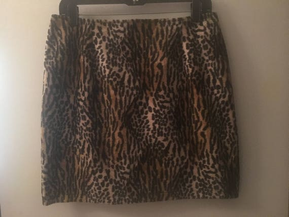 Retro faux fur leopard skirt