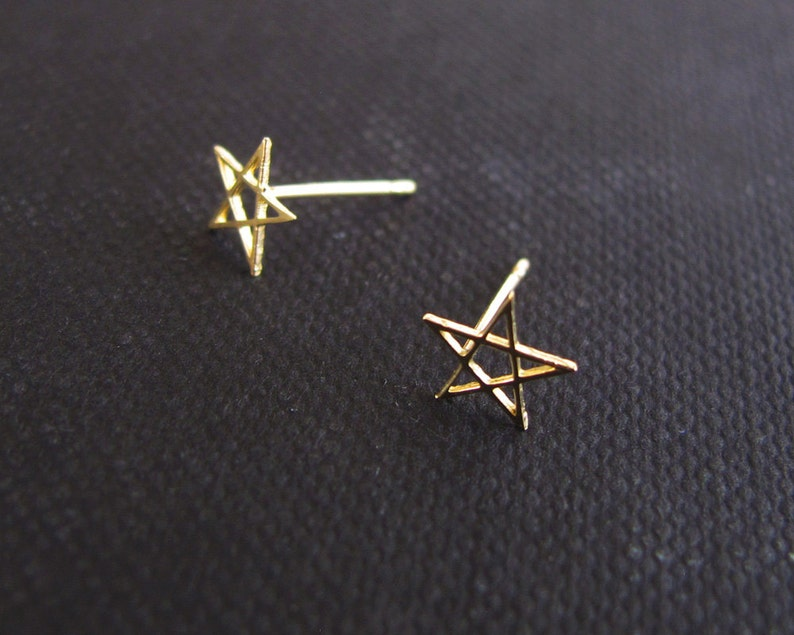 91a8927a7 Solid gold earrings tiny star stud earrings solid gold post | Etsy