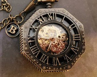 Personalize OCTAGON MECHANICAL Pocket Watch w/black & gold initial, Hand wind, Bronze/black/gold with matching pocket chain
