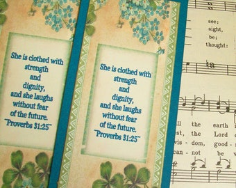 ONE She is Clothed in Strength and Dignity, Chipboard Bookmarks Proverbs 31:25, Sunday School Gifts, Christian Bookmarks, Religious Favors