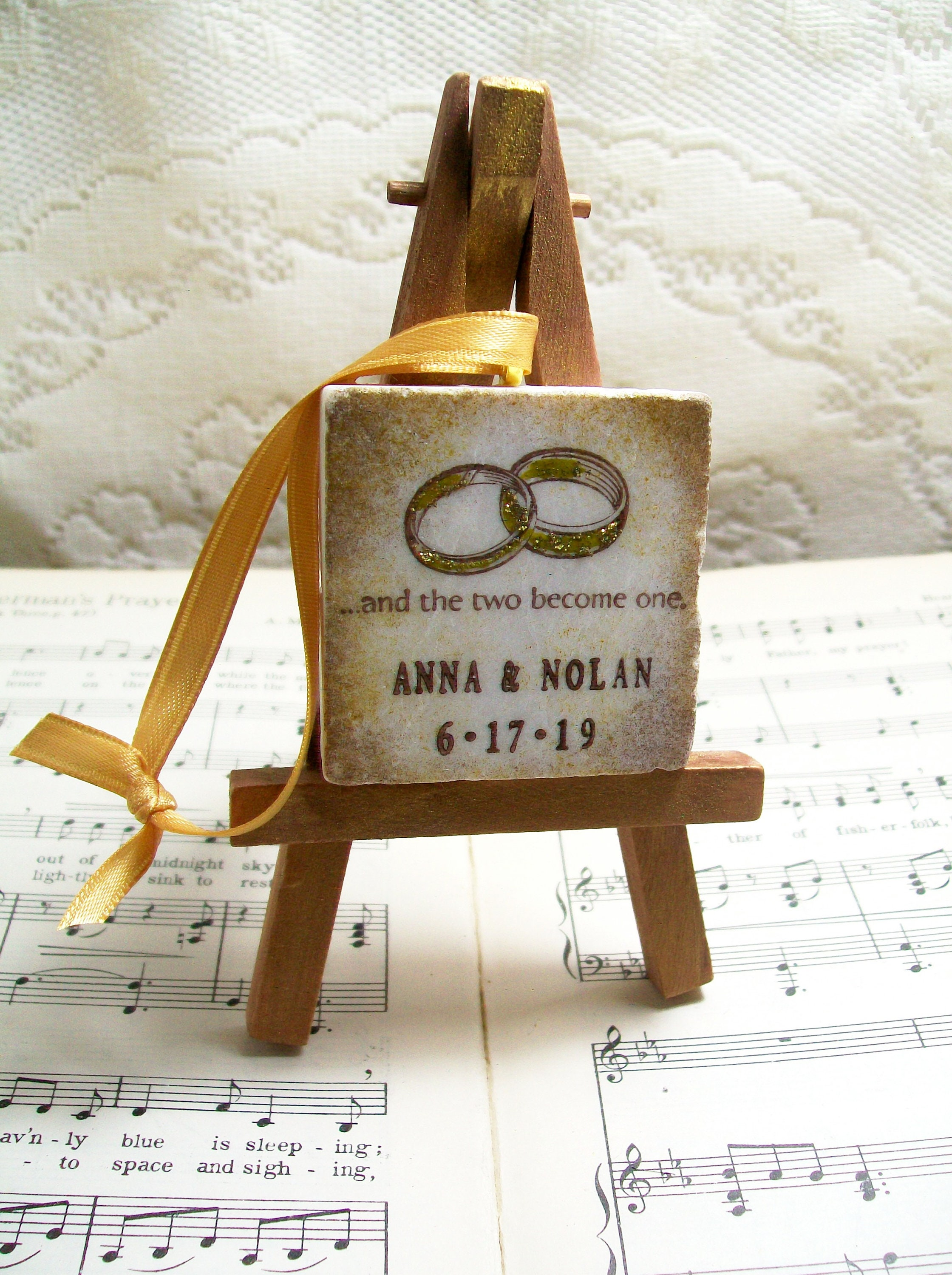 Personalized Wedding Ornament Gift For Couples Wedding Rings Etsy