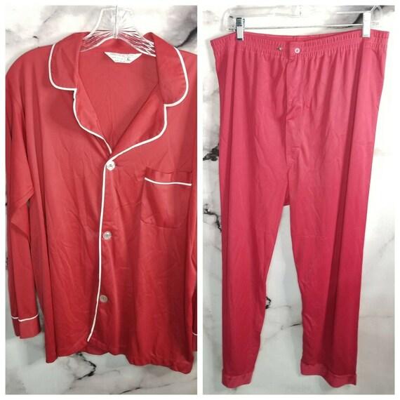 Vintage 70s Mens JCPenny Nylon Satin Pajama Set Re