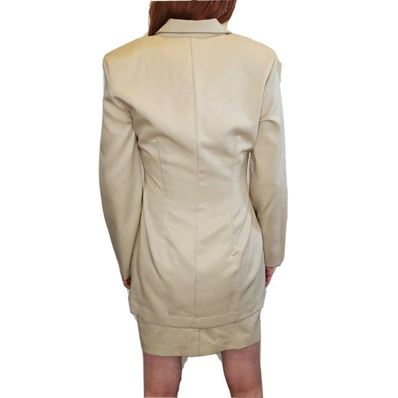 Vintage 90s Dress Blazer Set Minimalist Monochrome Beige Neutral Size 6 Small